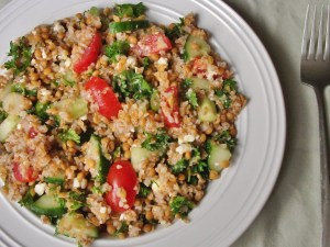 Bulgur, lentil, and feta salad