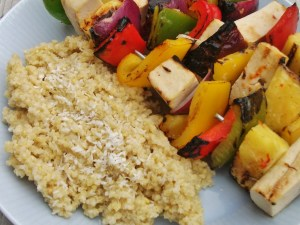 Pineapple and tofu kebabs with coconut millet
