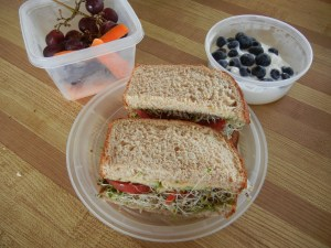 Hummus, avocado, and vegetable sandwich