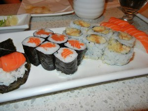 August 8 Burlington Ontario - salmon hand roll, salmon maki roll, spicy salmon roll, salmon sashimi