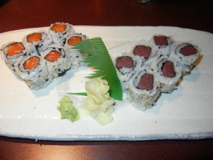 Gozen London Ontario salmon roll and tuna roll