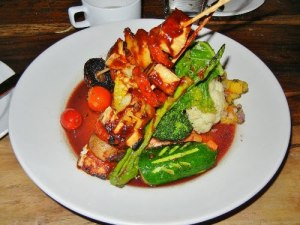 Fressen vegan restaurant Toronto - skewered tofu in BBQ sauce
