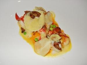 Blacktree restaurant - Alaskan black cod with butternut squash ravioli, lobster confit, and mushrooms
