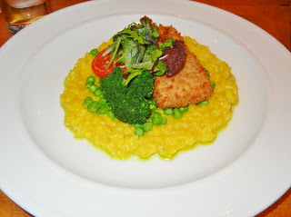 Chives restaurant panko crusted tofu and saffron Parmesan risotto