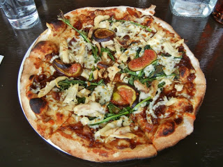 Morris East - pizza with chicken, fresh figs, and mozzarella