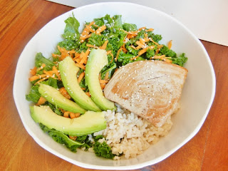 Brown rice, seared Ahi tuna, kale massaged in sesame oil, carrots, avocado
