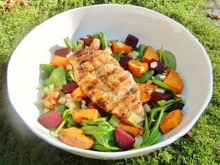 Chicken, beet, and sweet potato salad