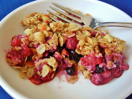 Triple berry (Blueberry, raspberry, and strawberry) almond crisp