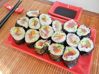 Homemade brown rice sushi