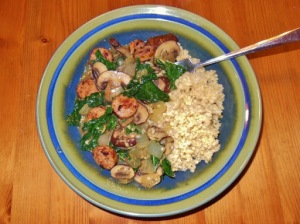 Oh She Glows cozy millet bowl with mushroom gravy and kale