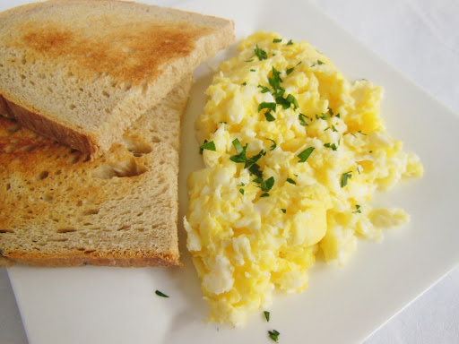 Perfect scrambled eggs -- with no added ingredients, just eggs!