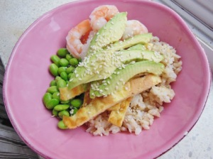 Shrimp and avocado rice bowl from Fitness magazine