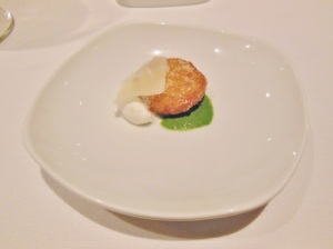 Blacktree - arancini with parsley puree and Parmesan