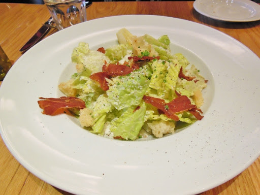 Salad with  romaine hearts, pancetta, and toasted foccacia from Fabbrica restaurant