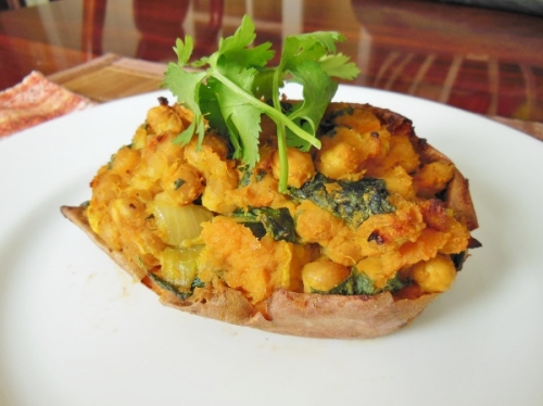 Coconut curry chickpea stuffed sweet potatoes