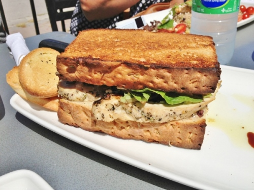 Grilled chicken sandwich from Stoney's Bread Company